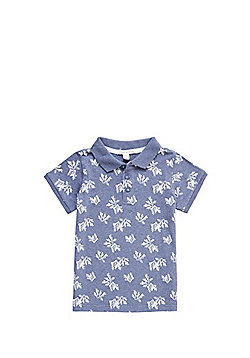 Charlie & Me Coral Print Polo Shirt - Blue & White
