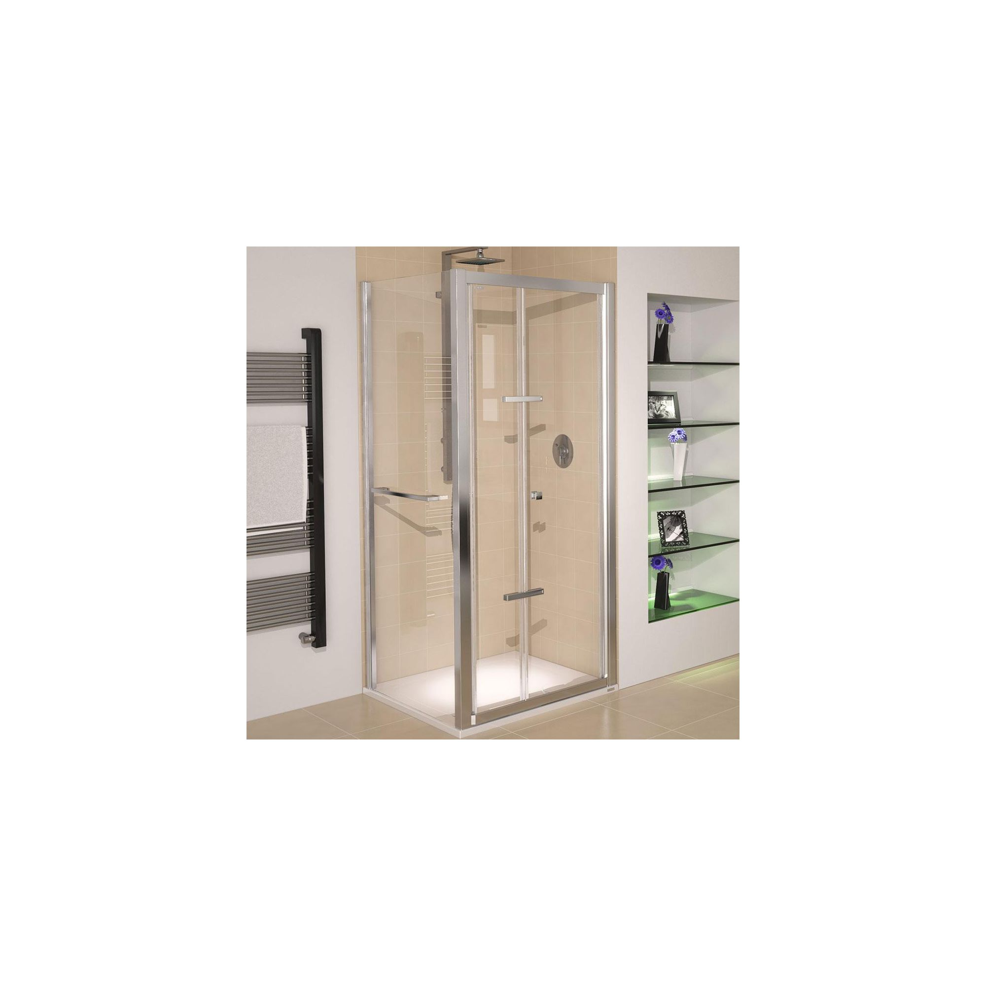 Aqualux AQUA8 Glide Bi-Fold Shower Door, 800mm Wide, Polished Silver Frame, 8mm Glass at Tescos Direct