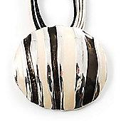 Black And White Stripe Disk Cord Pendant