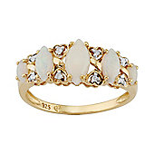 Gemondo Gold Plated Sterling Silver 0.71ct Natural Opal & 4pt Diamond Five Stone Ring