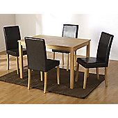 Home Essence Albany 5 Piece Ash Dining Set - Brown