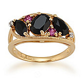 Gemondo Gold Plated Silver 1.81ct Spinel, 0.15ct Rhodolite & 1pt Diamond Ring