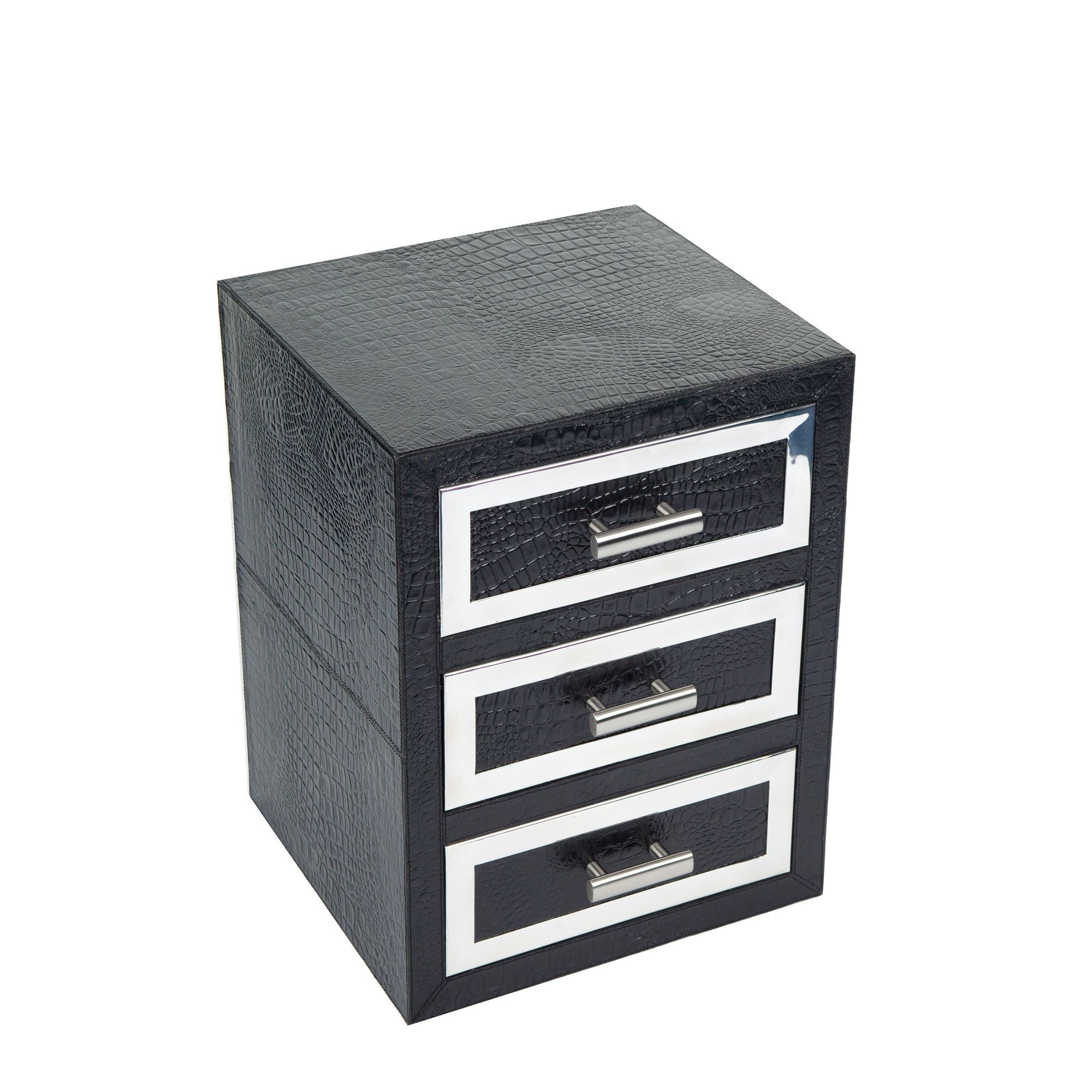 Jadeed Interiors Moc Croc Leather / Steel Drawer Set - Black at Tesco Direct