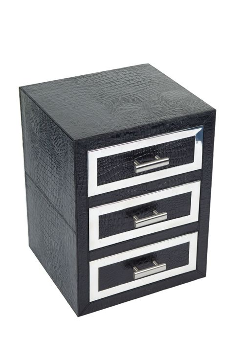 Jadeed Interiors Moc Croc Leather / Steel Drawer Set - Black
