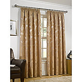 Leanne Lined Pencil Pleat Gold Curtains - 90x72 Inches