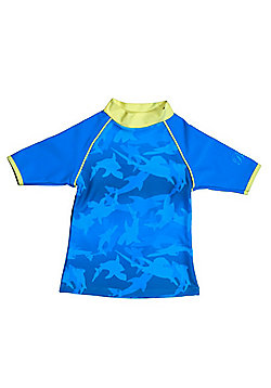 Banz 'Fin Frenzy' Short Sleeved UV Rash Top - Blue - Blue