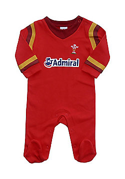 Wales WRU Rugby Baby Sleepsuit - 2015/16 Season - Red