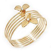 Gold Plated Textured Crystal Flower Upper Arm Bracelet - (Up to 26cm upper arm)
