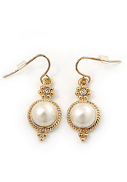 Vintage Inspired White Glass Pearl Drop Earrings In Gold Plating - 35mm Length