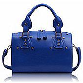 Designer Blue Studded Barrel Tote Fashion Handbag