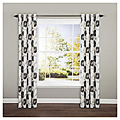 Poppy Floral Lined Eyelet Curtains - Black
