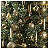 Festive Gold Mixed Christmas Bauble Pack, 100 Piece