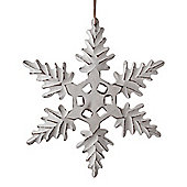 Large Hanging White Wooden Snowflake Christmas Ornament Decoration
