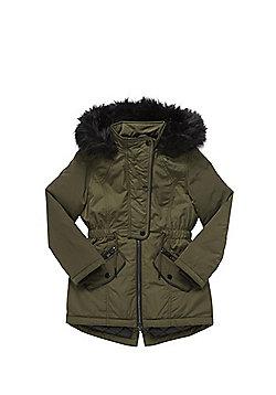 F&F Faux Fur Hood Parka - Khaki