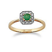 Gemondo 9ct Yellow Gold 0.20ct Emerald & Diamond Ring