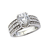 Platinum Overlay on to Sterling Silver Cubic Zirconia Set Ring