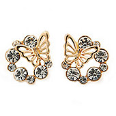 'Butterfly In The Crystal Circle' Stud Earrings In Gold Plating - 17mm Diameter