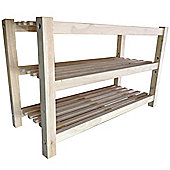 James - 3 Tier Solid Wood Shoe Rack / Storage Shelf - Natural