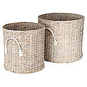 Set Of 2 White Wash Hyacinth Baskets - Small and Medium