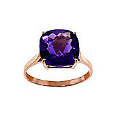 QP Jewellers 3.60ct Amethyst Rococo Cushion Ring in 14K Rose Gold