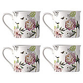 Wild Garden Peonies Fine China Mugs, 4 Pack