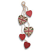 Decorative Multi Heart Hanger with Green Union Jack Design & Shabby Finish