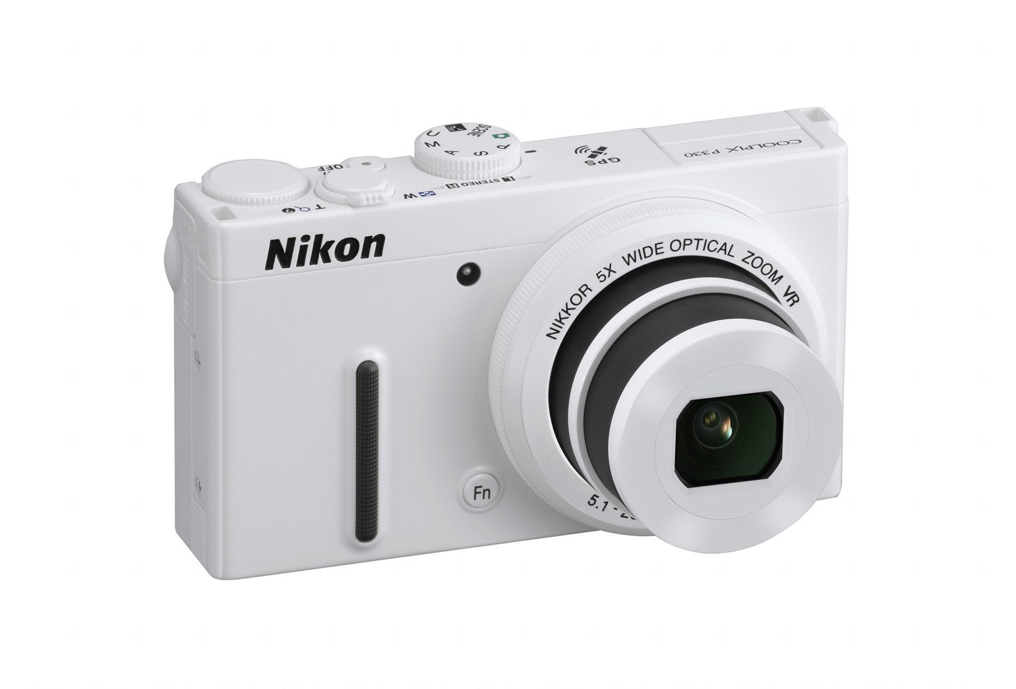 Nikon Coolpix P330 Camera White 12.2MP 5xZoom 3.0LCD FHD 24mm Wide Lens GPS