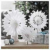 Honeycomb Snowflakes, White, 3 Pack