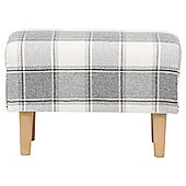 Tub Footstool Fabric Pattern / Check Grey