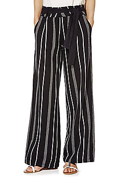 F&F Striped Linen Blend Trousers - Navy