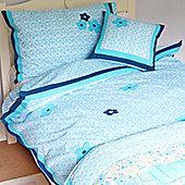 Blue Flower Cotton Children's Single Duvet Cover Set