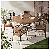 Bora Curved Wooden 6-seater Garden Dining Set