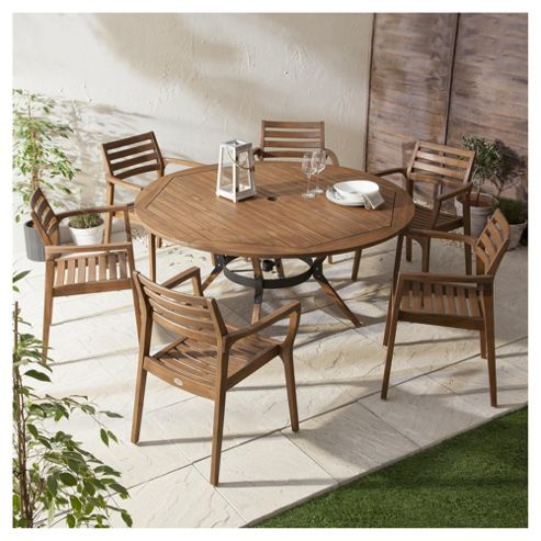 Buy Bora Curved Wooden 6 Seater Garden Dining Set From Our All Garden Furnitu