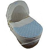 Cuddles Collection Moses Basket (Blue Polka Dot)