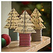 Tesco Traditional Fabric Trees, 3 Pack