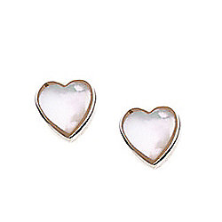 Children's Mother of Pearl Heart Stud Earrings