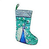 Peacock Design Christmas Stocking