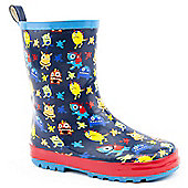 Brantano Boys Brigh Monster Navy Wellington Boots - Blue