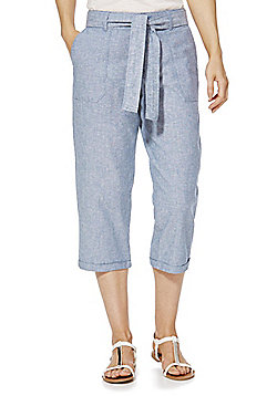 F&F Linen Blend Cropped Trousers - Chambray
