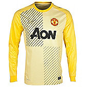 2013-14 Man Utd Home Nike Goalkeeper Shirt (Yellow) - Yellow