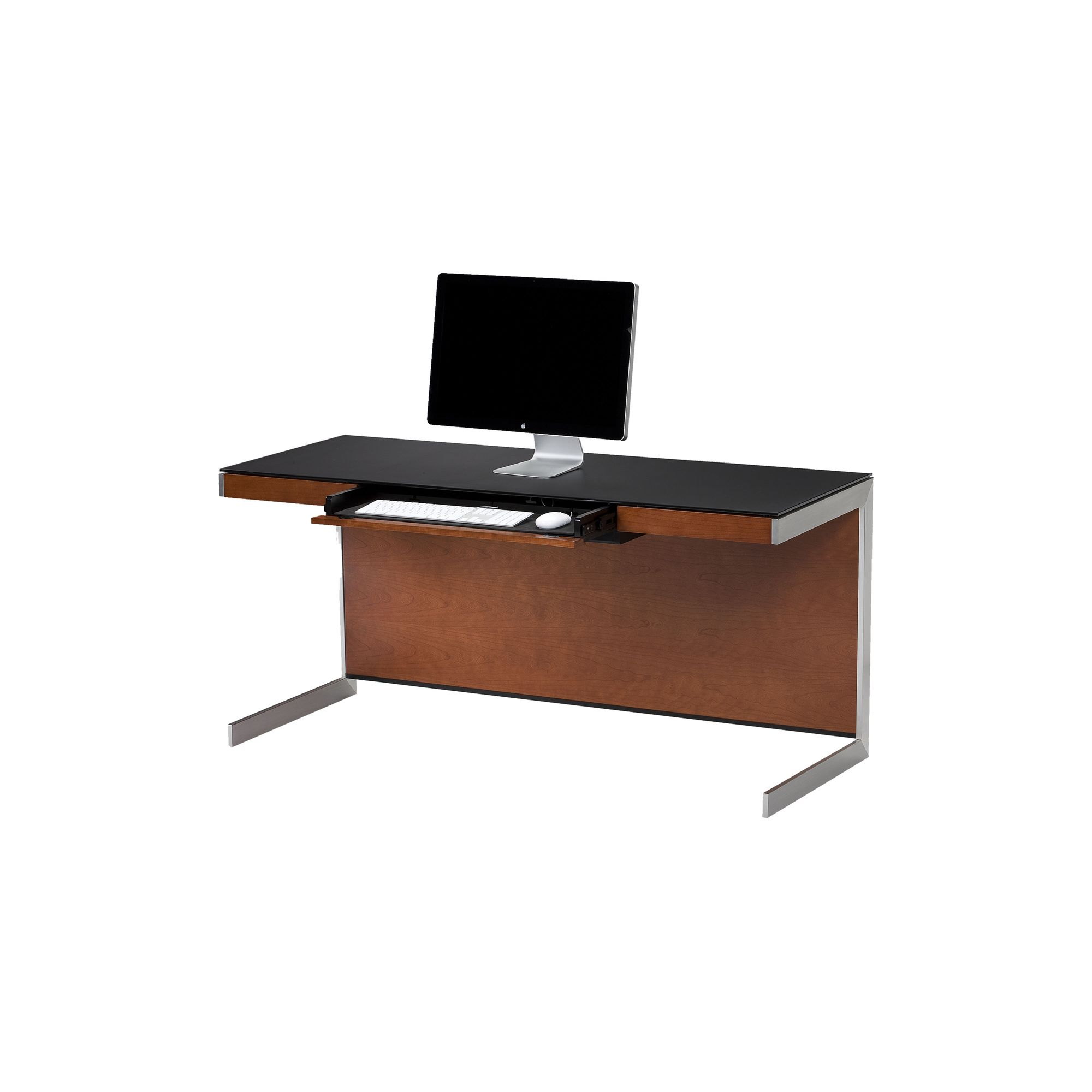 Sequel 6001 Desk in Natural Stained Cherry with Glass Top at Tesco Direct