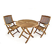 York 2 Seater Folding Round Teak Set - Outdoor/Garden table and Chair set.