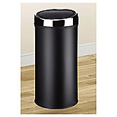 30L Kitchen Bin - Push Top - Stainless Steel - Black