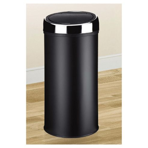 Tesco 30L Stainless Steel Black Push Top Open Kitchen Bin