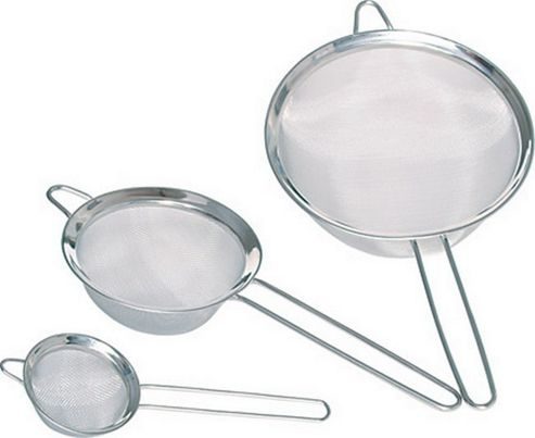 Set of Three Stainless Steel Fine Mesh Round Sieves