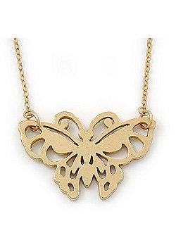 Small Matte Gold 'Butterfly' Pendant Necklace - 36cm Length/ 6cm Extension