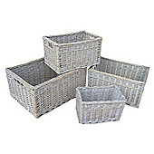Wicker Valley White Wash Storage Baskets (Set of 4)