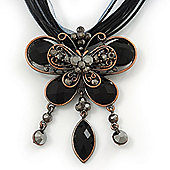 Black/Grey Diamante 'Butterfly With Tail' Cotton Cord Pendant Necklace In Bronze Metal - 38cm Length/ 8cm Extension