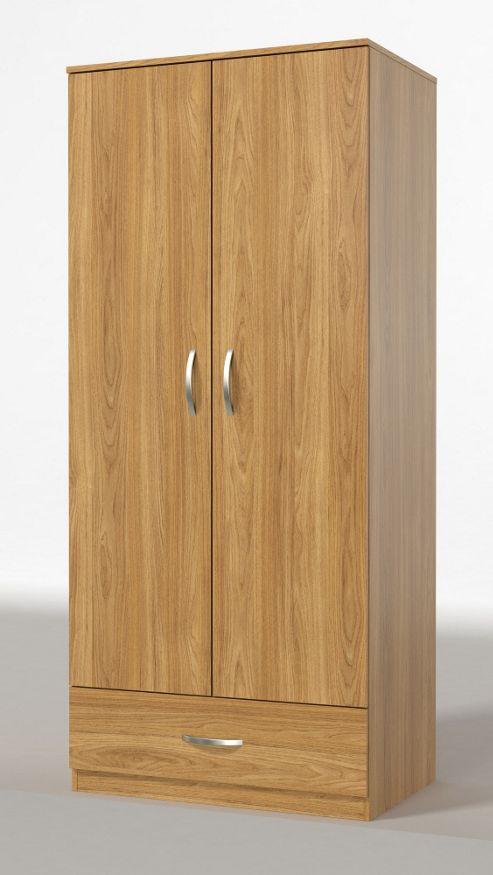 Urbane Designs Panama 2 Door 1 Drawer Wardrobe - New Oak