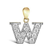 9ct Yellow Gold Cubic Zirconia Initial Charm Identity Pendant - Letter W